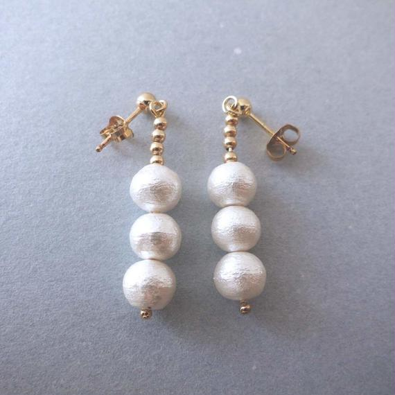 cotton pearl piaced earring (three piece)