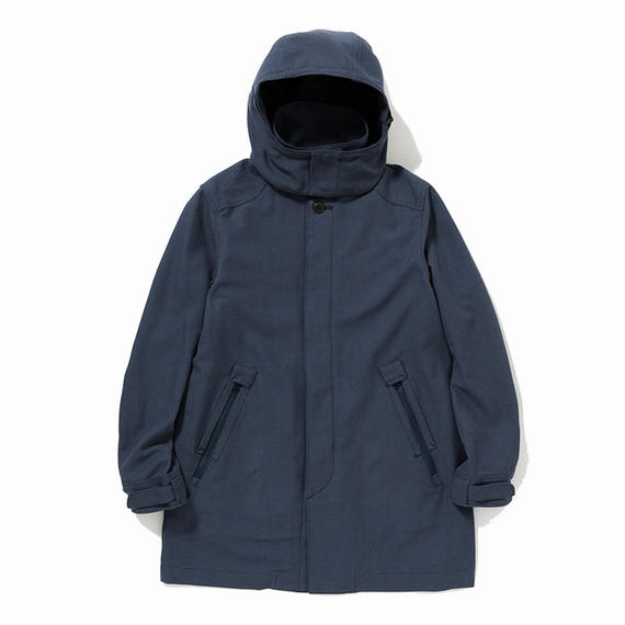 Cotton Birds Eye Bal Collar Coat/NAVY