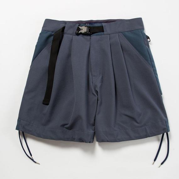 """Sashiko"" Sack Shorts/BLUE GREY"
