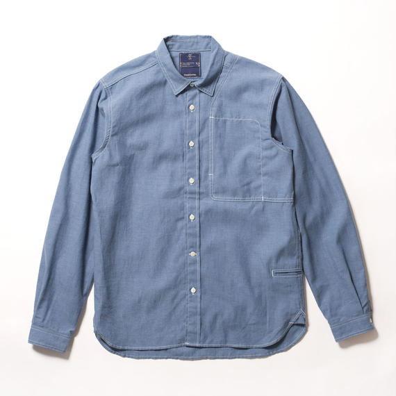 Cotton Chambray Shoulder Pad Work SH/BLUE