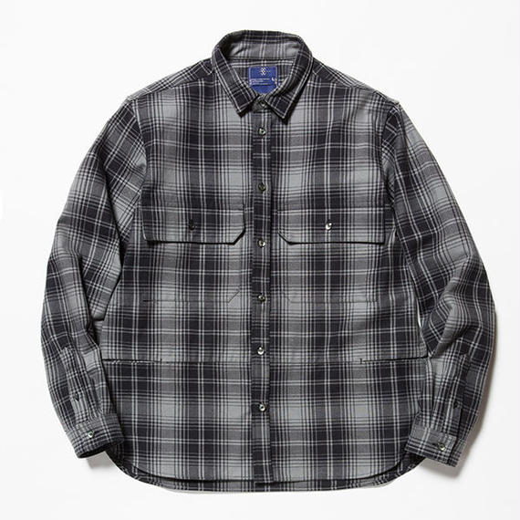 Flannel Check Shirt Jacket/GREY [MW-JKT18201]