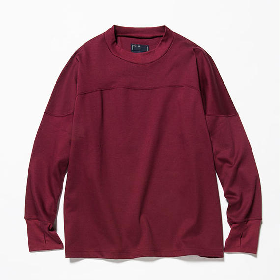 GIZA Cotton Round Yoke L/S Tee/WINE