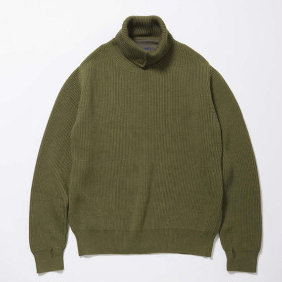 Open Collar Turtleneck Sweater/FOREST