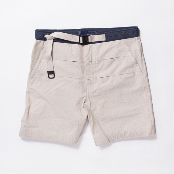 Cotton Linen Canvas Loop Tape Shorts/NATURAL