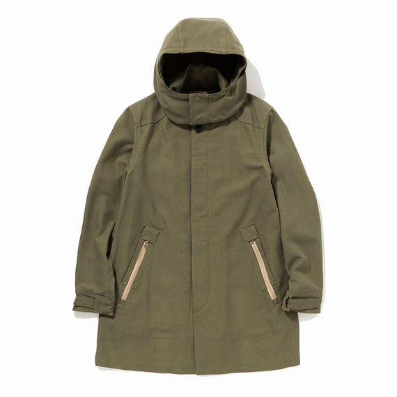 Cotton Birds Eye Bal Collar Coat/KHAKI