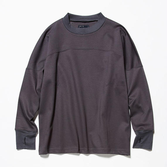 GIZA Cotton Round Yoke L/S Tee/CHARCOAL