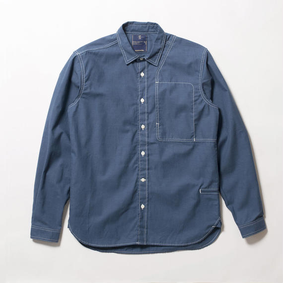 Cotton Chambray Shoulder Pad Work SH/INDIGO