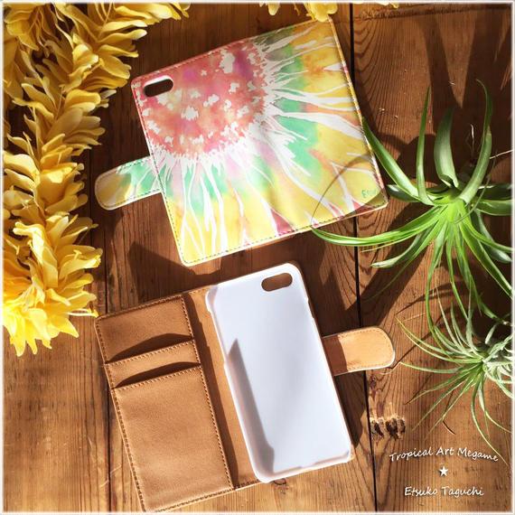 手帳型ベルトありiPhoneケース sunflower(ピンク)
