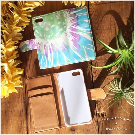 手帳型ベルトありiPhoneケース sunflower(ブルー)