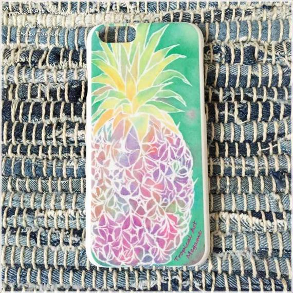 iPhone6ケース/水彩パイナップル(ホワイト)