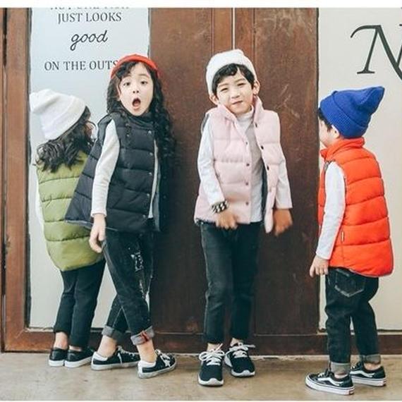AW 冬物 新作   【 中綿 ベスト 】女の子男の子 四色