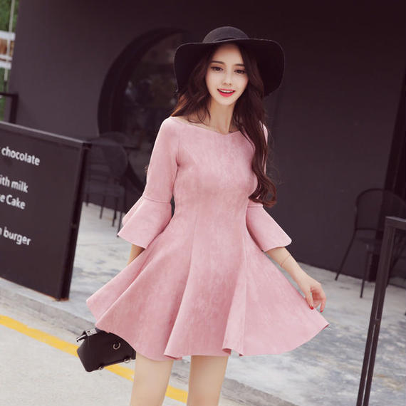 B058 solidpink suede dress ❤