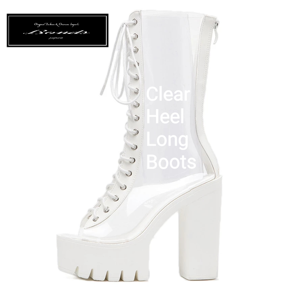 B124 Clear design heel long boots