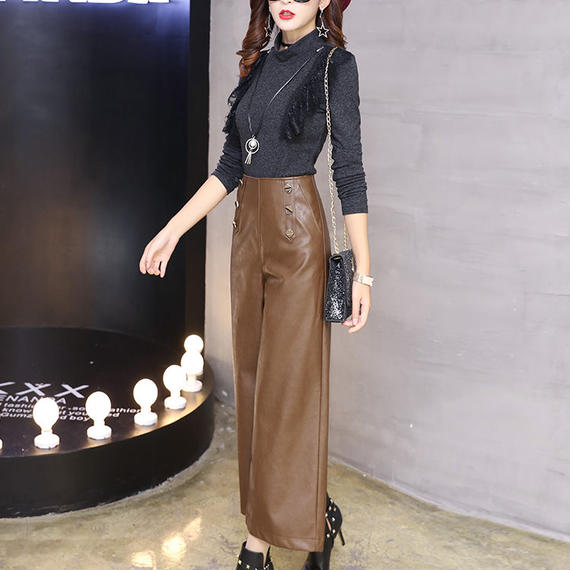 B158 Leather Long wide Pants