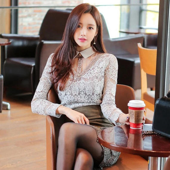 B147 Korean lace up dress