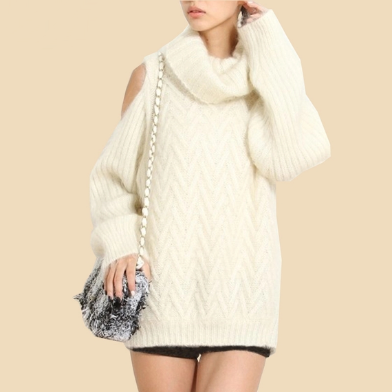 B030 ♡大人気♡ケーブル編み肩出しタートルネックセーター【3color】