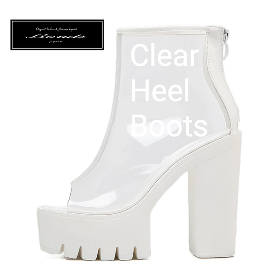 B123 Clear design heel boots