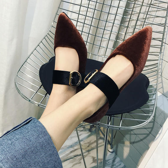 B073 Buckle Design Flatshoes❤ 2color