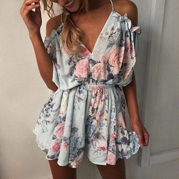 B130 Summer Floral Design Rompers