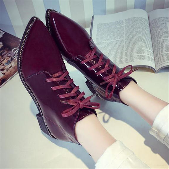B072 Vintage Patent Leather Boots 2 color