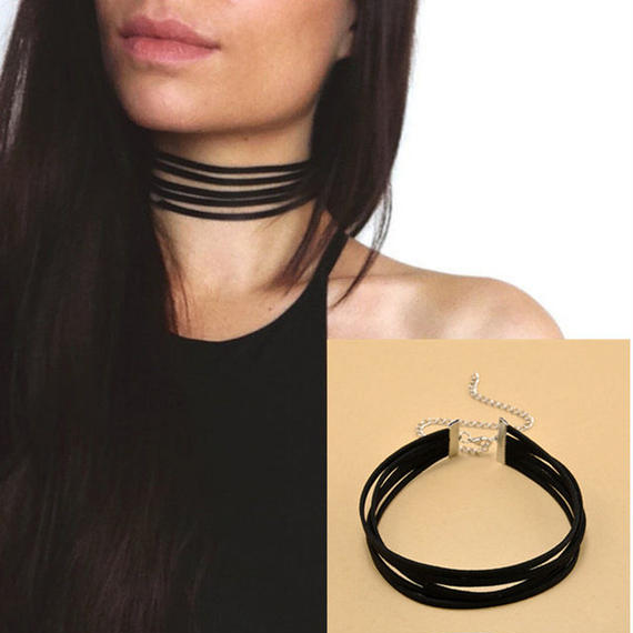 B081 Leather5line choker