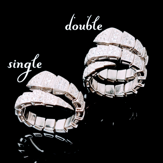 B096 Line stone snake ring ❤