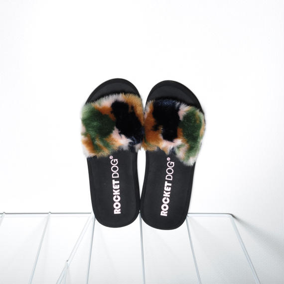 Fur Slides for women's Camouflage
