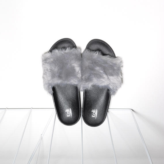 Fur Slides for Men's Grey