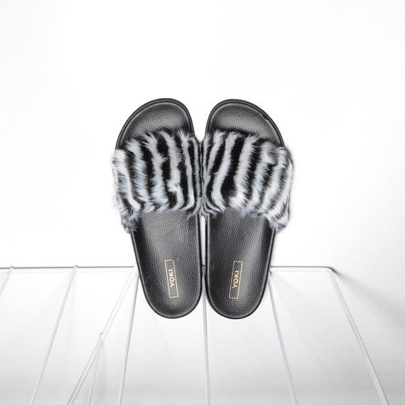 Fur Slides for Men's Zebra