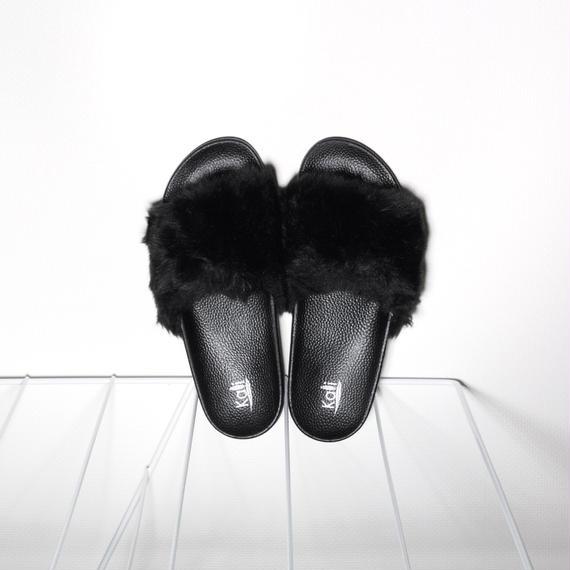 Fur Slides for Men's Black
