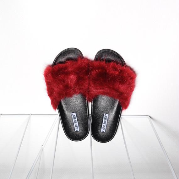 Fur Slides for women's Red