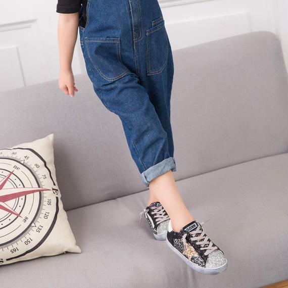 Claladoudou キッズ ファッション ガールズ ボーイズ 子供 トゥインクル スポーツ靴 靴 幼児 女の子 スニーカー リトルキッズ 子供用 カジュアル ファッション シューズ グリッター