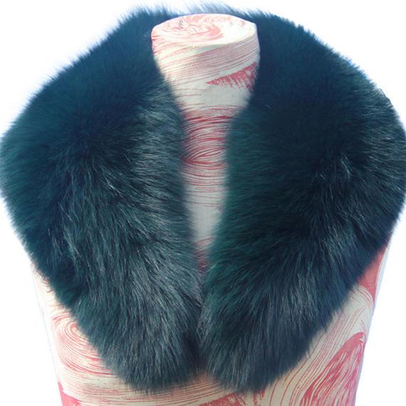 ダウンジャケット 新しい 100% 天然 毛皮 襟 ラグジュアリー グリーン フォックス ファー カラーリング スカーフ 女性 本物 フォックスファー 襟 フォックス ファー ロング ダウン ファー