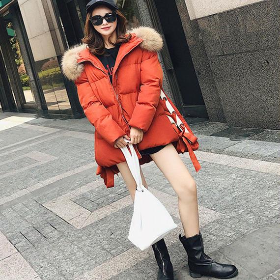 フード フェイクファー 襟 厚い 緩い 暖かい コート 冬 ジャケット カジュアル パーカー ファッション ファー ダウンコート コート 毛皮 レディース ダウンコート ダウンジャケットレディース