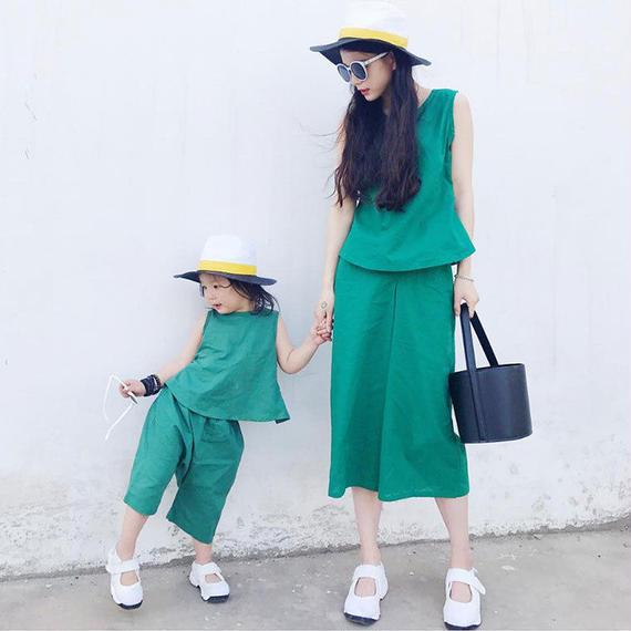 緑 綿 スーツ 母 娘 ファミリー マッチング 服 ファミリー レディース ペアルック 親子 キッズ 女の子 セットアップ ノースリーブ 夏 送料無料 セット ファミリー ママ カジュアル