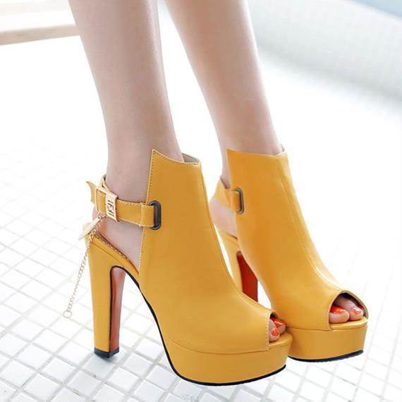ロマンス 女性 サンダル プラス サイズ ファッション ヒール オフィス レディ パンプス プラット フォーム 女性 靴 ブラック ホワイト イエロー ショート ブーツ レディース ブーティー
