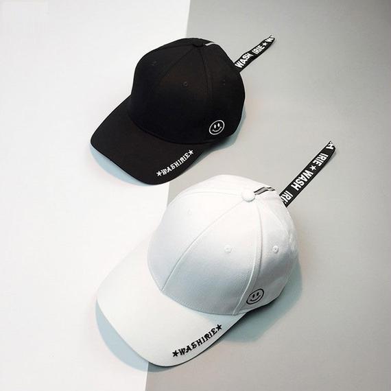 女性 ロングベルト スナップバック レトロ 帽子 メンズ パーソナリティ メタルリング スマイル 刺繍 野球帽 Casquette キャップ キャップ メンズ 小物 コットン リング ZIP