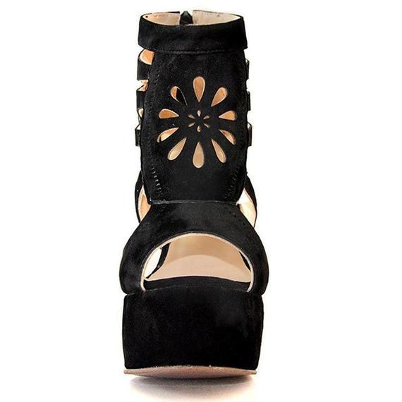女性 ウェッジ サンダル セクシー プラットフォーム サンダル グラディエーター シープスキン ジッパー ブランド 靴 女性 ヴィンテージ 靴 厚底 ウェッジ サンダル ウェッジソール