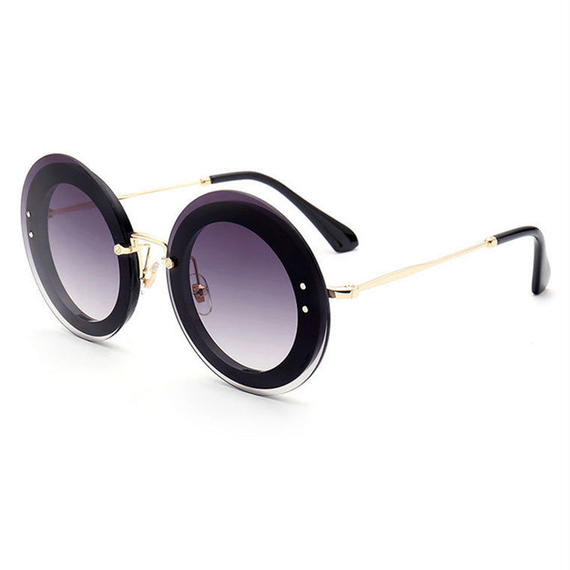 DRESS U UP 最新 ファッション ラウンドサングラス 女性 ブランド デザイナー ヴィンテージ グラデーション シェード サングラス サングラス ラウンド型  UVカット 紫外線対策