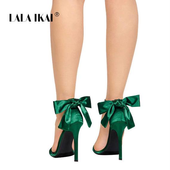 LALA IKAI レディース サンダル ハイヒール 夏 靴 ファッション レディース アンクルストラップ バタフライノット ハイヒール サンダル ハイヒール 美脚サンダル キャバ 薄底 ピンヒール