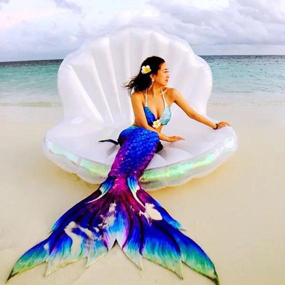 巨大 プール ビキニ 1.7M シェル パール ホタテ インフレータブル 水 おもちゃ エアマットレス 水泳 ライフ ブイ フロート 浮き輪 真珠 パール 貝 ビーチ マーメイド 人魚 送料無料