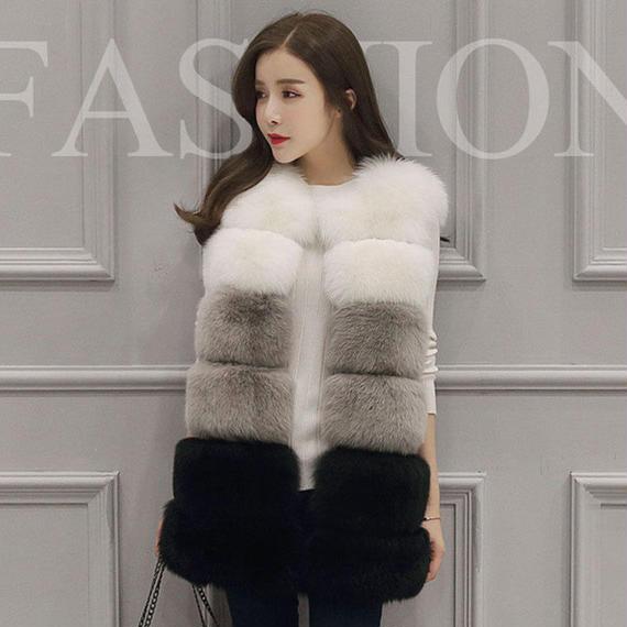 女性 ベスト チョッキ コート フェイク フォックス ファー 白 グレー黒 服 トップ 品質