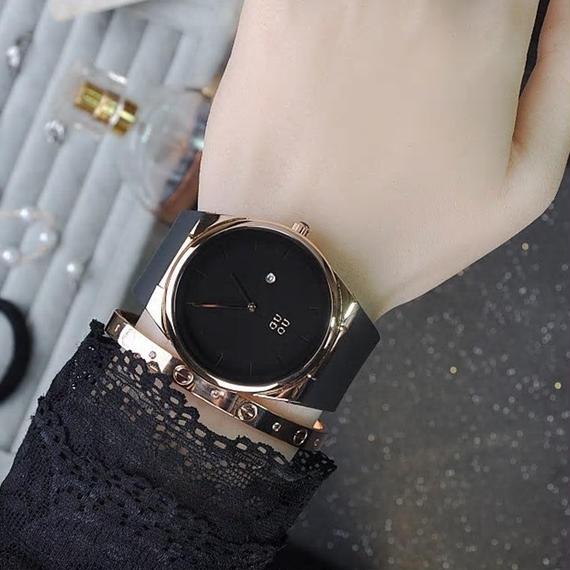Guou レディースファッション シンプル 耐久性 シリコーン 時計 ストラップ 時計 カレンダー 時計 レトロ ファッション トレンド アナログ  レディース ウォッチ 女性用 腕時計 防水