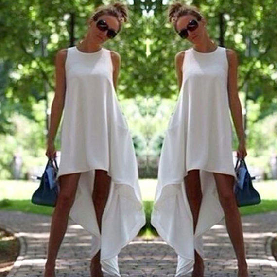 夏 女性 ヴィンテージ ノースリーブ ドレス ボディコン カジュアル パーティー イブニング アシンメトリー ドレス サンドレス ビーチ ドレス ブラック ホワイト 送料無料 フォーマル ドレス