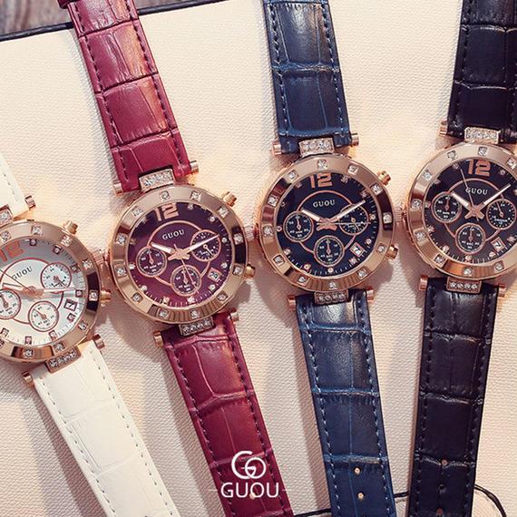 GUOU ウォッチ 高級 レディース 腕時計 ファッション クォーツ 時計 女性 ラインストーン レザー カジュアル レディース 腕時計