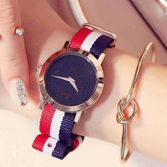 GUOU 恋人 ウォッチ ラグジュアリー シャイニー 男性 腕時計 時計 ナイロンストラップ ファッション 女性 腕時計 クォーツ 時計 腕時計 TIME ウィークエンダー ウォッチ アクセ
