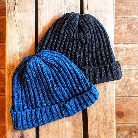 """TRADHOUND"" Indigo Knit Watch Cap"