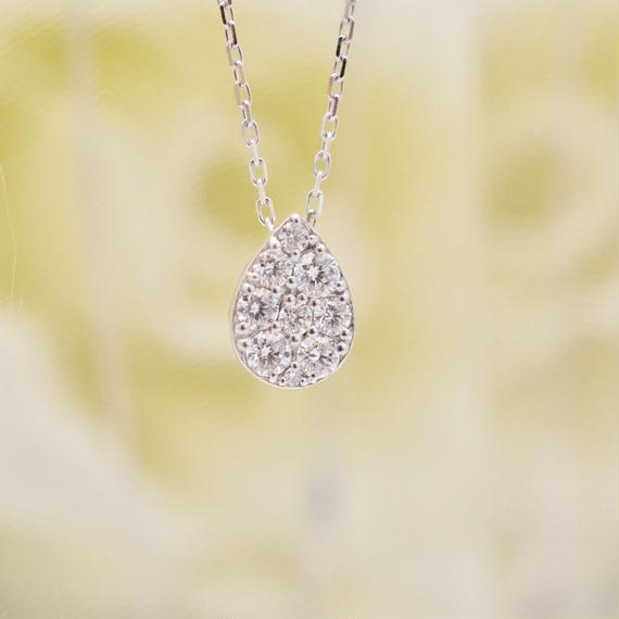 K18WG ダイヤモンド ネックレス 0.30ct