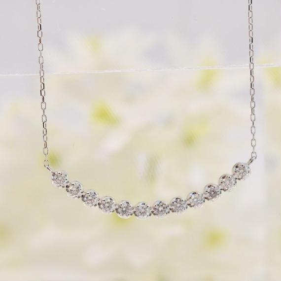 Pt900/850 ダイヤモンドネックレス 0.45ct