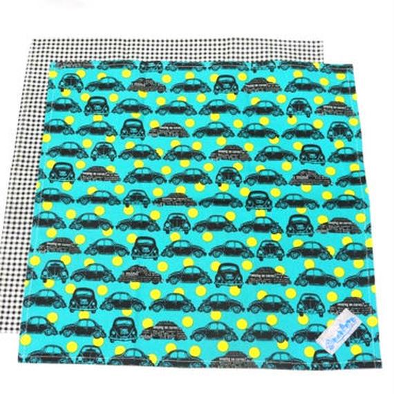 クラシックカー ターコイズ ランチクロス (2枚セット)ハンドメイド!
